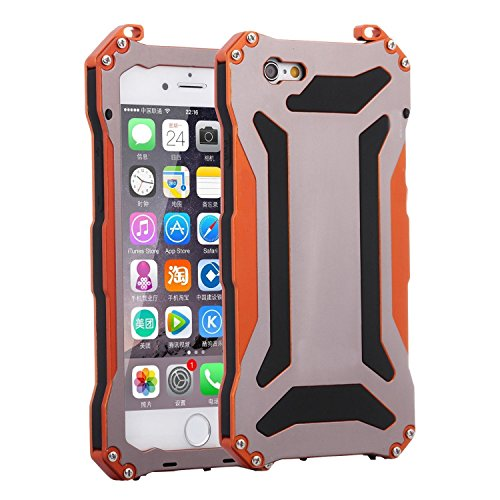 New iPhone 7 Plus Case, MalenAstore iPhone 7 Plus Gorilla Glass Case, Protective Gorilla Glass Aluminum Alloy Metal Shockproof Waterproof Snowproof Dustproof Cover Case for iPhone 7 Plus - Orange orange iphone 7 plus case 9