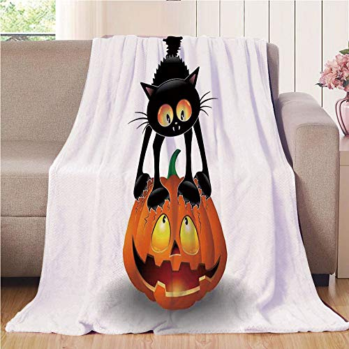 Blanket Comfort Warmth Soft Air Conditioning Easy Care Machine Wash House,Halloween Decorations,Black Cat on Pumpkin Spooky Cartoon Characters Halloween Humor Art,Orange Black,47.25