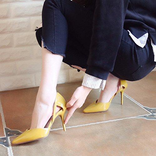Au Creux Printemps Hauts Des Vide Zhudj Minces Femmes Chaussures Unique Chaussures Yellow Talons Pointu ARxF1nndwq