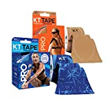 KT Tape PRO Precut 40-Strip Synthetic Kinesiology Tape Two-Roll Bundle - Stealth Beige & Ice Crystals
