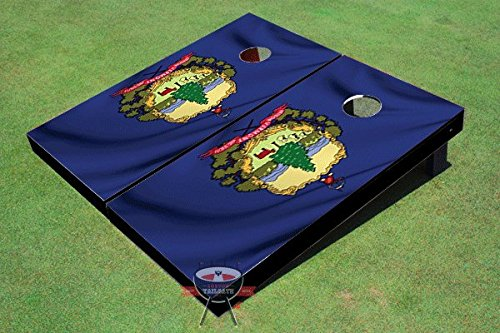 Vermont Waving Flag Theme Corn Hole Boards Cornhole Game Set Vermont Cabinet