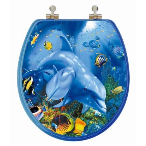 80%OFF TOPSEAT 3D Ocean Series Round Toilet Seat w/ Chromed Metal Hinges, Wood, Dolphin Family