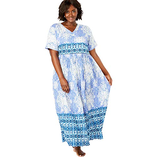 - Only Necessities Women's Plus Size Crinkle Cotton Lounger - French Lilac Mosaic, 1X
