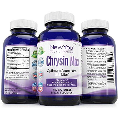 Chrysine limite Max de Conversion de la testostérone en œstrogènes nouvelle en bloc de vitamines chrysine Max chrysine supplément 900mg 180 Capsules 1 bouteille