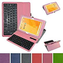 "Acer Iconia One 10 B3-A20 Bluetooth Keyboard Case,Mama Mouth Coustom Design Slim Stand PU Leather Case Cover With Romovable Bluetooth Keyboard For 10.1"" Acer Iconia One 10 B3-A20 Android Tablet,Pink"