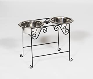 product image for Wrought Iron Tall Double Dog Dish 2 Quart Amish Made in The USA