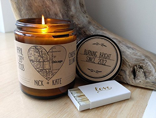 Unique Wedding Gift Custom Candle Heart Map Art Personalized Wedding Map Engagement Gift Map Gift for Couple Heart Map Print Heart Map (Wedding Matchbox)