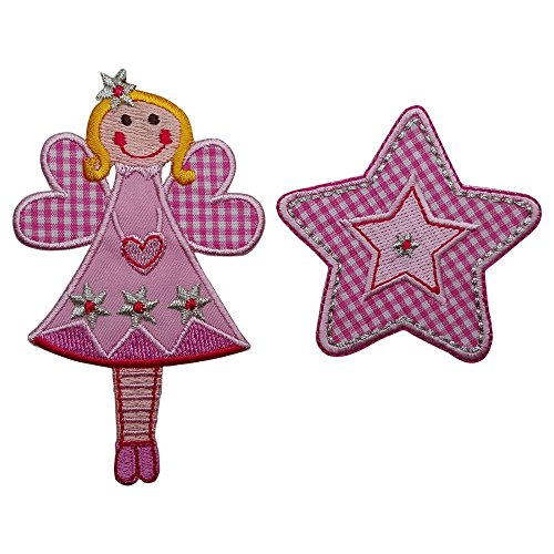 2 Patches Set Fee 11X7Cm Pink Star Patch Patch Patch Fabric Patch Decoration Iron-On Door Hanger Pillow Shirt Jeans Skirt Pants Clothes Cap Hat Jacket Scarf Neckerchief Ceiling Backpack Bags Gym Bag (Letter Patch Set)
