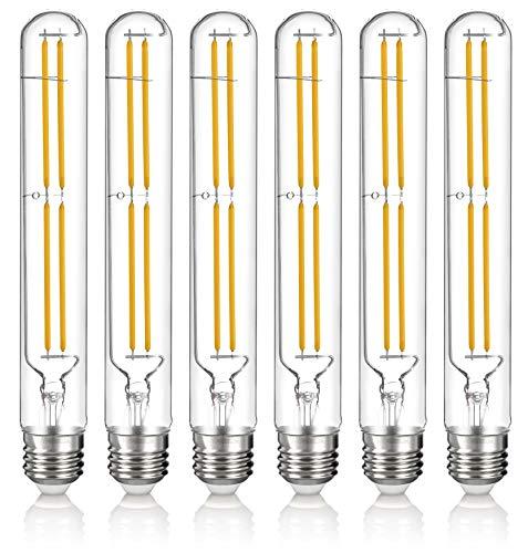 Hyperikon T10 Dimmable LED Filament Bulb, 5W (40W Equivalent), 470 lumen, 3000K (Soft White Glow), E26 Base (Medium Screw Base), CRI 90+, 6-Pack