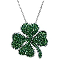 Crystaluxe Clover Pendant with Swarovski Crystals (Sterling Silver)