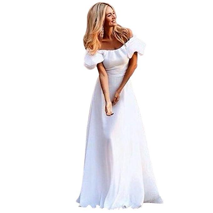 Sommerkleider Damen Weiß Maxikleid, Kingprost Abendkleider Lang ...