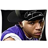Chris Brown Custom Zippered Pillow Cases 20x30 (one side)