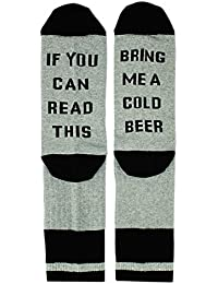 If You Can Read This Funny Saying Knitting Word Combed Cotton Crew Beer Coffee Taco Wine Socks,Gag Gift for Men Women