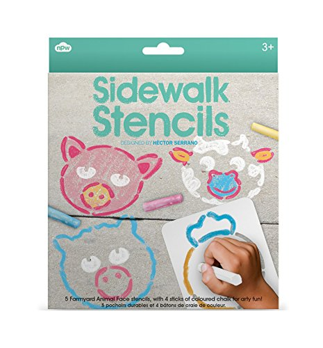 NPW-USA Sidewalk Animal Faces Chalk /& Stencils Set