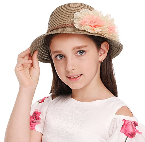 Summer Baby Girl Half a Flanging Straw Hat Beach Sun Cap with Two Flowers,Coffee