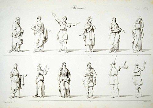 Costumes Of Rome (1833 Copper Engraving Bosa Art Ancient Roman Rome Costume Fashion Clothing ILC1 - Original Copper Engraving)