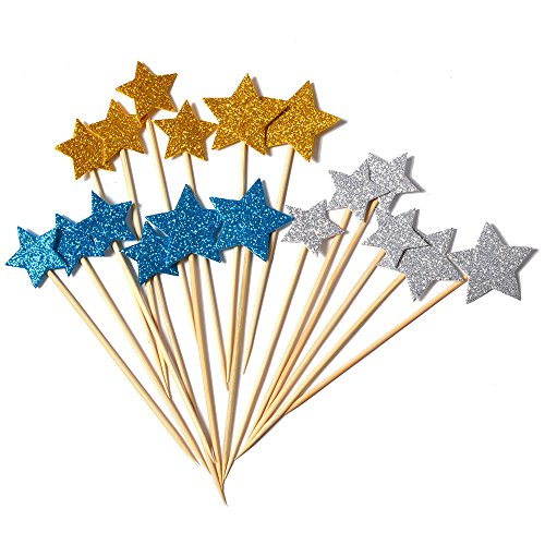XADP 54 pcs-3 Sets Cake Toppers Gold, Silver and Blue Cupcake Star Topper for Birthday Wedding Ceremony ()