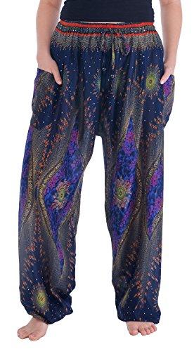 Lannaclothesdesign Women's Boho Yoga Peacock Drawstring Thai Harem Pants (XXL, Dark Blue Flower Eye) (Best Thai Boxer In Thailand)