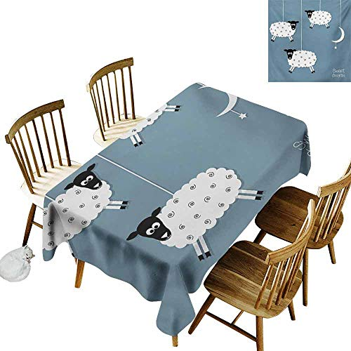 Restaurant Tablecloth Sweet Dreams Hanging Sheep Star and Crescent Moon Sleeping Themed Illustration Excellent Durability W60 xL102 ()
