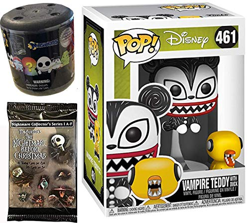 Evil Ducky Figure Nightmare Before Christmas Duck Vampire Teddy Pop! NBC Vinyl #461 Bundled with + Fash EMS Soft Mini Blind Character Trick-Or-Treat Halloweentown Movie Trading Cards Pack 3 Items