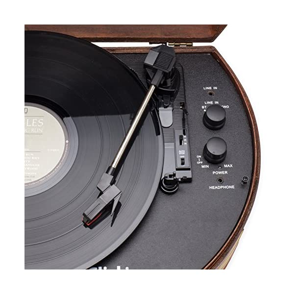 ClearClick Vintage Suitcase Turntable with Bluetooth & USB - Classic Wooden Retro Style 4