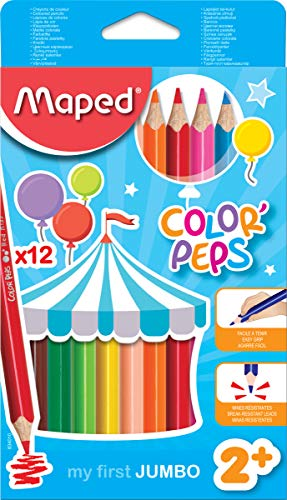 Maped Color'Peps Triangular Jumbo Colored Pencils, Assorted Colors, Pack of 12 - Colored Pencil Chubby