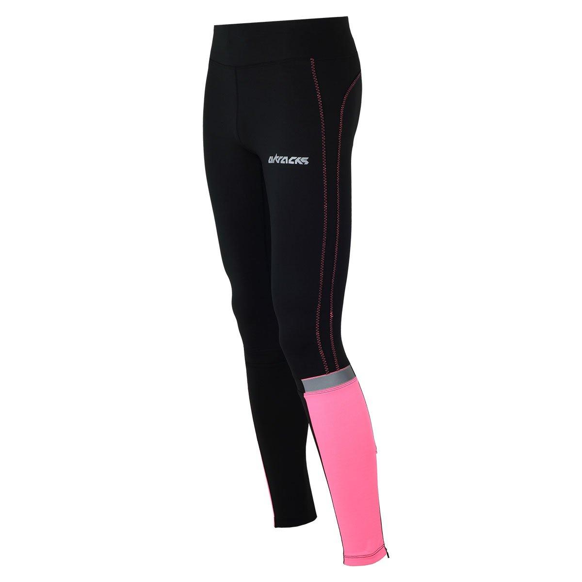 Airtracks Damen multifunzione Pantaloni Lunghi Da Corsa/Running Tight/Compressione/Traspirante/Riflettori/Neon o Pink