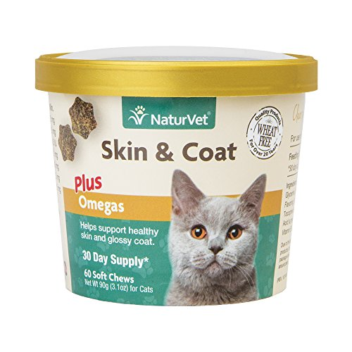 NaturVet - Skin & Coat Plus Omegas for Cats - 60 Soft Chews | Supports Healthy Skin & Glossy Coat | Enhanced with Omega-3, Omega-6 & Biotin | 30 Day Supply