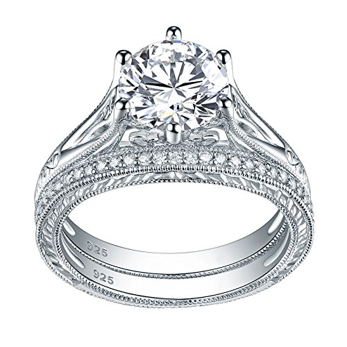 Newshe Jewellery Sterling Silver Cz Wedding Ring Sets Vintage Engagement Rings for Women 2.2ct Round Size 8 ()