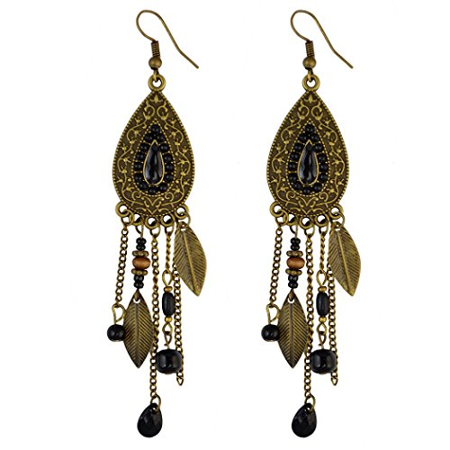 Boho Retro Brown Long Tassel Drop Beaded Charms Earring Fish Hook Dangle Earrings (Black) -