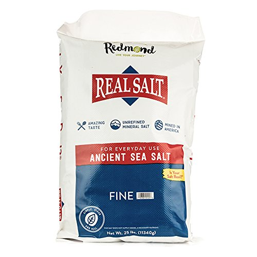 Redmond Real Sea Salt - Natural Unrefined Organic Gluten Free Fine, 25 Pound Bag