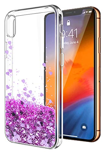 iPhone XS Max Case,iPhone XS Max Glitter Case for Women Girls,SunStory Moving Shiny Quicksand Glitter and Double Protection with PC Layer and TPU Bumper Case for Apple iPhone XS Max(6.5)(Purple)