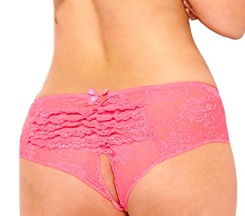 Lacy Line Plus Size Sexy Open Crotch Ruffled Back Floral Lace Panties (1x/2x,Coral)