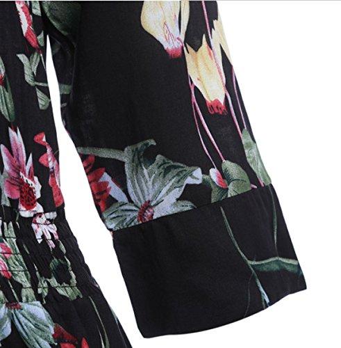 Las Mujeres El Tiempo La Impresión Playa Vacaciones V-cuello Irregular De Talle Alto Suelto Vestido Black