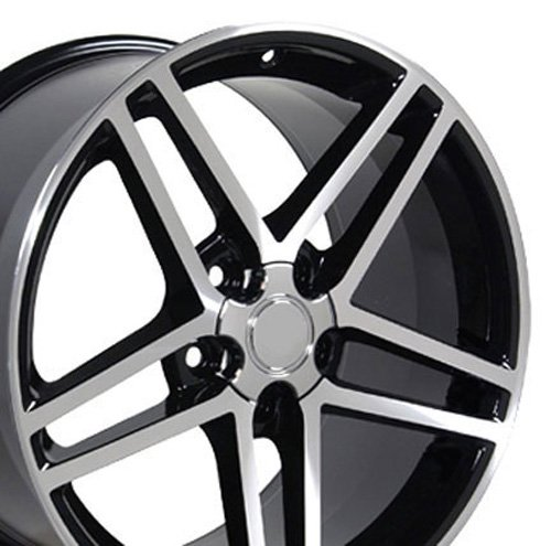 (OE Wheels 18 Inch Fits Chevy Camaro Corvette Pontiac Firebird C6 Z06 Style CV07A Gloss Black Machined 18x9.5 Rim)