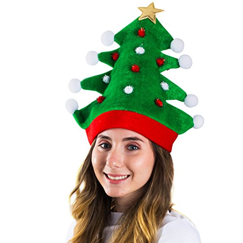 Christmas Hat - Adult Christmas Tree Hat - Novelty Hats Funny Party Hats ()