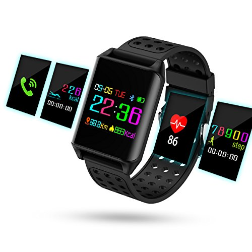 Hizek Smart Watch, Smart Wrist Watch Wearable Waterproof Wireless 4.0 LCD Touch Color Screen Fitness Watch with Pedometer Sleep Monitor for Android & iOS Smartphones