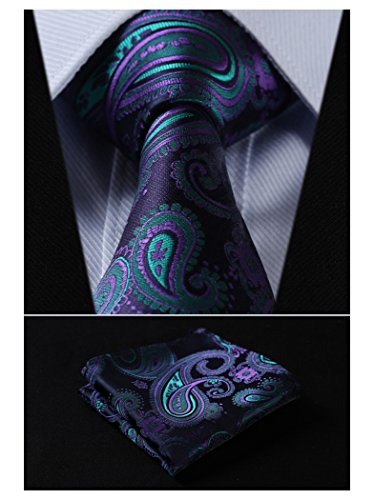 SetSense+Men%27s+Floral+Paisley+Jacquard+Woven+Tie+Necktie+Set+8.5+cm+%2F+3.4+inches+in+Width+Navy+Blue+%2F+Green+%2F+Purple