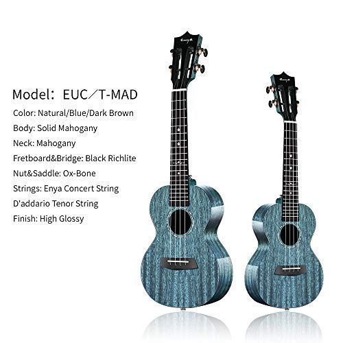 Enya EUC-MAD Concert Ukulele Solid Gloss Mahogany 23 Inch Wiping Blue with High-end 15mm Padded Gig Bag by ENYA (Image #1)