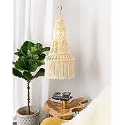 Mkono Ceiling Pendant Light Shade Macrame Hanging Lantern for Living Room Bedroom Nursery Decorative Lighting