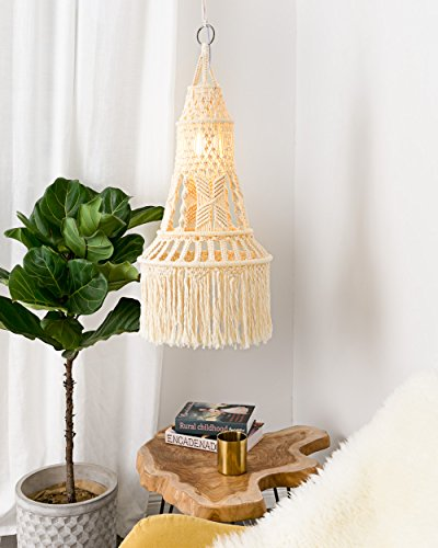 Mkono Ceiling Pendant Light Shade Macrame Hanging Lantern for Living Room Bedroom Nursery Decorative Lighting