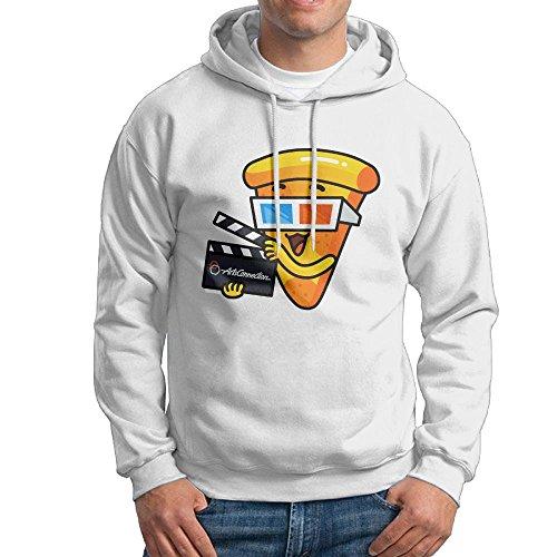 SFLLY Men 3D Glasses Movie Pizza With Hood No Pocket Long Sleeve Hoodie - Glasses Khalifa Wiz