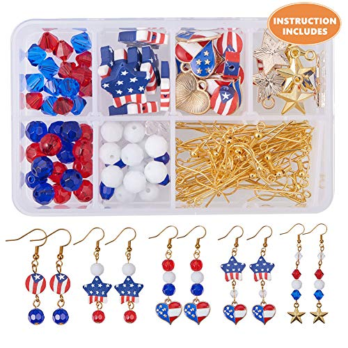 SUNNYCLUE 1 Box DIY 12 Pairs USA American Flag Patriotic Red Blue Dangle Drop Earrings Making Kit 4th of July Independence Day ()