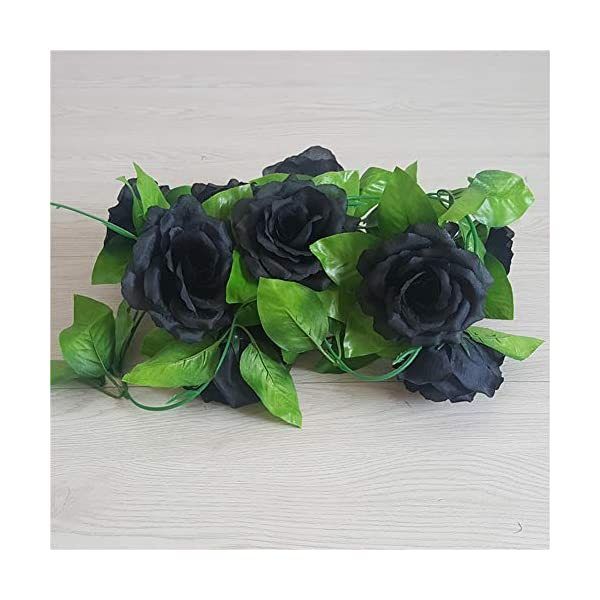 Summer Flower Artificial Silk 7.5Ft Rose Vine Rattan 4″ Flowers Cane Garland Wall Hang Plant Wedding Party Home Garden Room Balcony Decoration,Pack of 4 (Black)