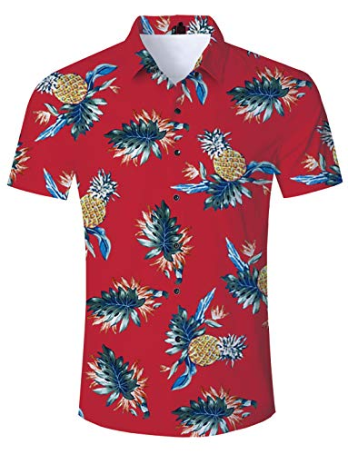 Pineapple Hawaiian Shirt Mens Tropical Button Down Shirts Aloha Slimming Fit Blouses Short Sleeve Party Beach Clothing -