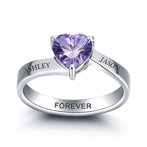 Personalized Heart Simulated Birthstone Rings Diy Jewelry For Women Customize Names Engagement Rings Gift