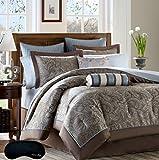 Elegant Brown Blue Paisley California King 14 Pc. Jacquard Comforter Bedding SUPER SET + 100% Cotton Complete Sheet Set and 2 Home Style Brand Sleep Masks ( Cal King, Blue)