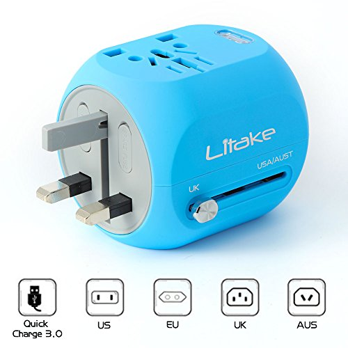 Litake Mini Travel Power Adapter, All In One Wall Plug Travel Adapter with QC 3.0 USB Charger Support Quick Charging for UK, EU, AU, US Covers 150+Countries
