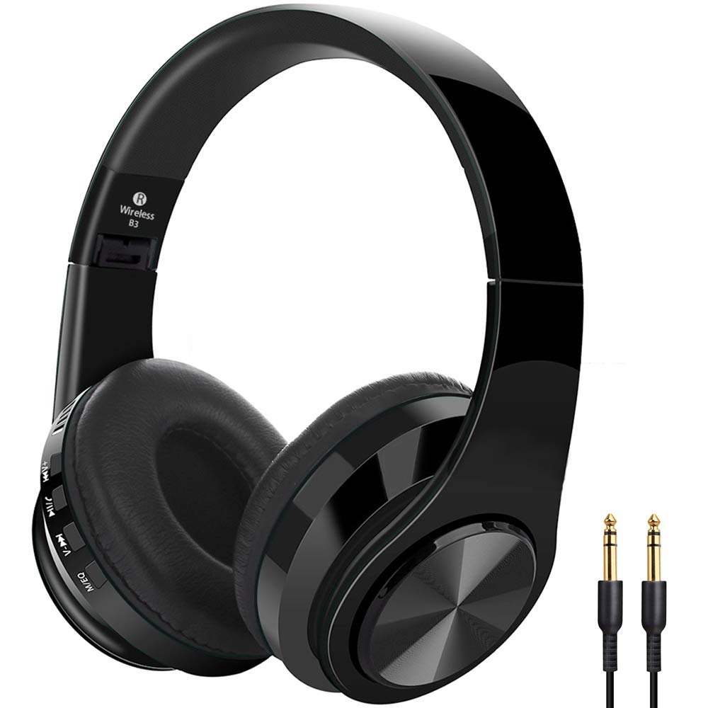 Huifen Wireless Bluetooth 5.0 Headphones Over Ear Noise Cancelling Headset, Folding Stereo Head Phones Deep Bass Wired/SD Card Microphone Earmuff Earphones for PC/Cell Phones/TV (Black)