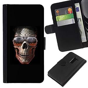 All Phone Most Case / Oferta Especial Cáscara Funda de cuero Monedero Cubierta de proteccion Caso / Wallet Case for LG G2 D800 // Rock Skull Black Metal Shades Cool Hell